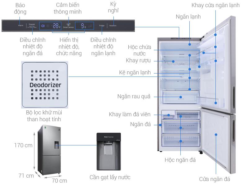 Thông số kỹ thuật Tủ lạnh Samsung Inverter 424 lít RL4034SBAS8/SV