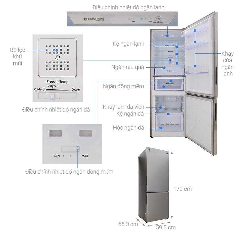 Thông số kỹ thuật Tủ lạnh Samsung Inverter 310 lít RB30N4010S8/SV