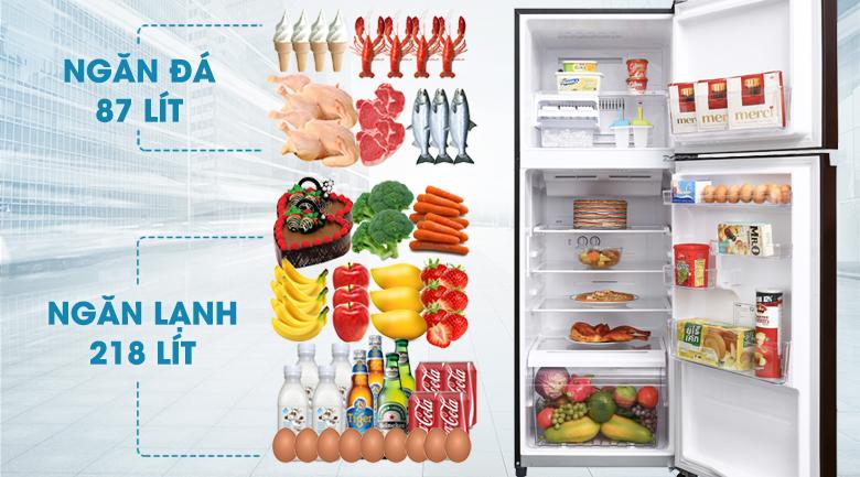 Tủ lạnh Toshiba Inverter 305 lít GR-AG36VUBZ XB1 - Dung tích