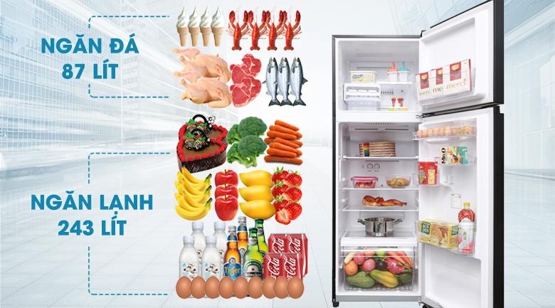 Dung tích lên đến 330 lít - Tủ lạnh Toshiba Inverter 330 lít GR-AG39VUBZ XK1