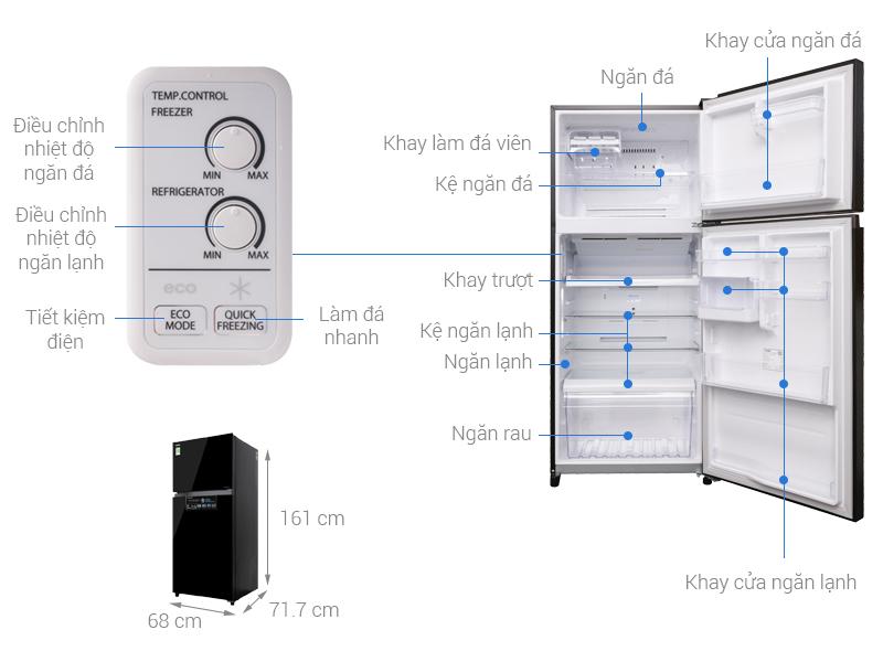 Thông số kỹ thuật Tủ lạnh Toshiba Inverter 359 lít GR-AG41VPDZ XK1