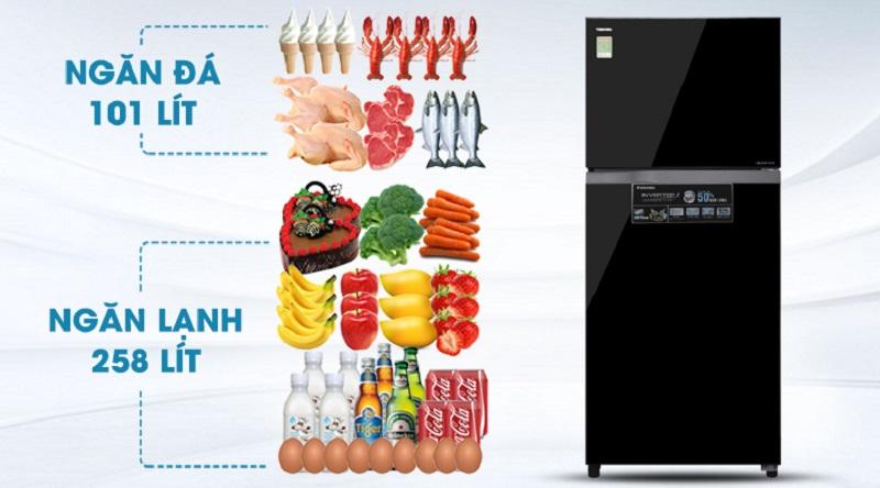 Bảo quản thoải mái với dung tích tới 359 lít - Tủ lạnh Toshiba Inverter 359 lít GR-AG41VPDZ XK1