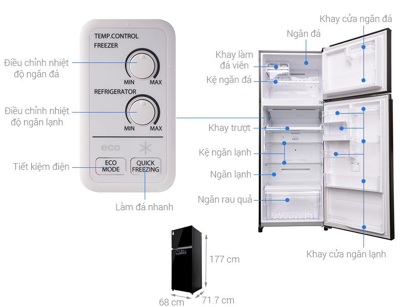 Thông số kỹ thuật Tủ lạnh Toshiba Inverter 409 lít GR-AG46VPDZ XK1