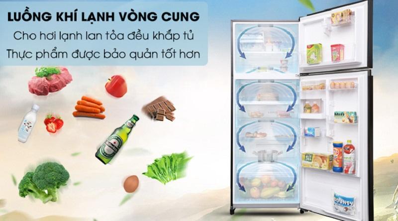 Làm lạnh đồng đều bên trong tủ với luồng khí lạnh vòng cung - Tủ lạnh Toshiba Inverter 409 lít GR-AG46VPDZ XK1