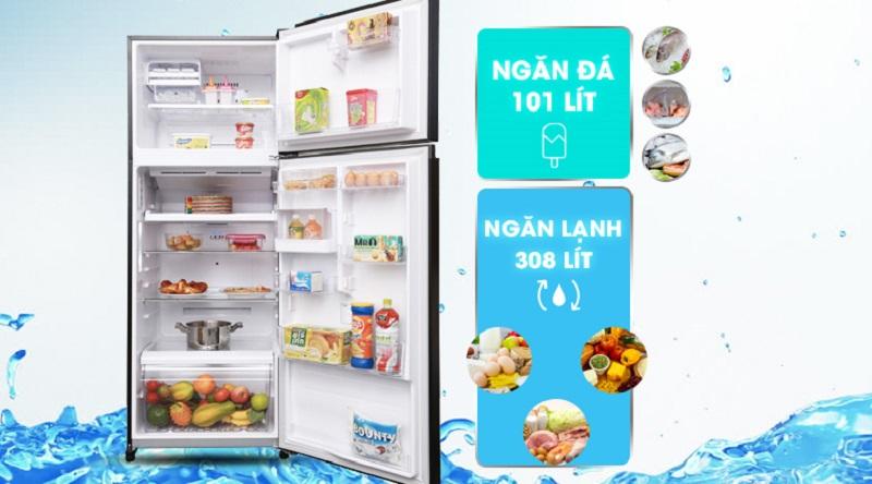 Dung tích lớn đáp ứng tốt nhu cầu sử dụng cho gia đình bạn - Tủ lạnh Toshiba Inverter 409 lít GR-AG46VPDZ XK1