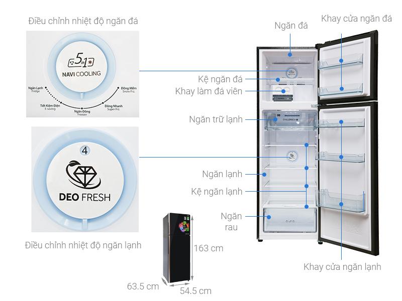 Thông số kỹ thuật Tủ lạnh Aqua Inverter 270 lít AQR-IG288EN (GB)