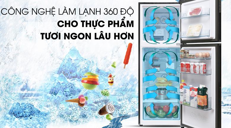 Làm lạnh hiệu quả với công nghệ làm lạnh 360 độ - Tủ lạnh Aqua Inveter 235 lít AQR-IG248EN (GB)