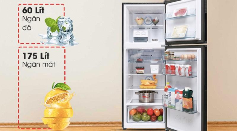 Dung tích 270 lít cho bạn sử dụng thoải mái - Tủ lạnh Aqua Inveter 235 lít AQR-IG248EN (GB)