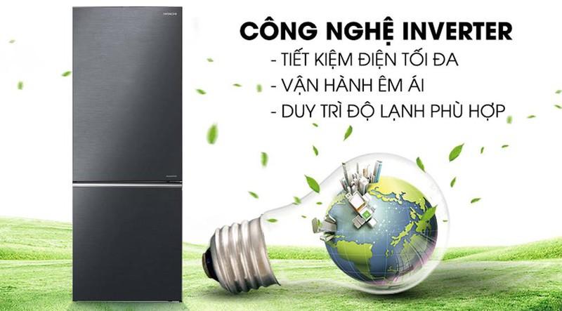 Tích hợp công nghệ inverter hiện đại tiết kiệm điện tối ưu  - Tủ lạnh Hitachi Inverter 275 lít R-B330PGV8 BBK
