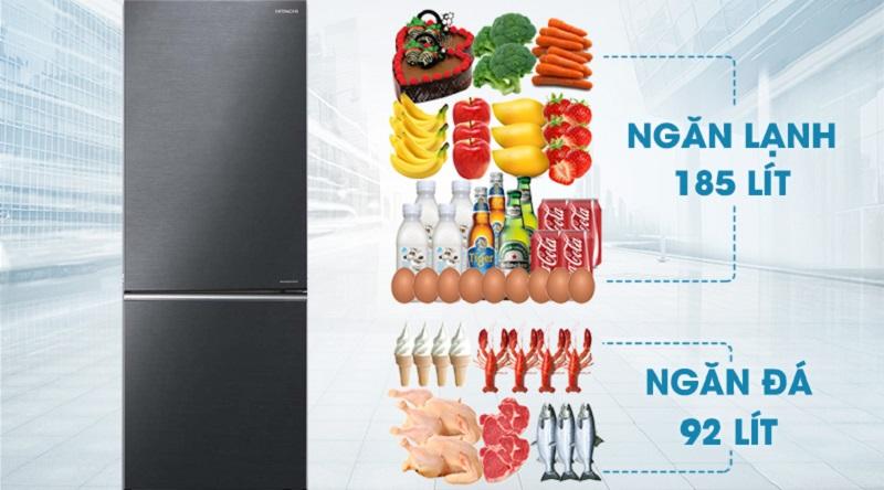 Thoải mái sử dụng với dung tích lên tới 275 lít  - Tủ lạnh Hitachi Inverter 275 lít R-B330PGV8 BBK