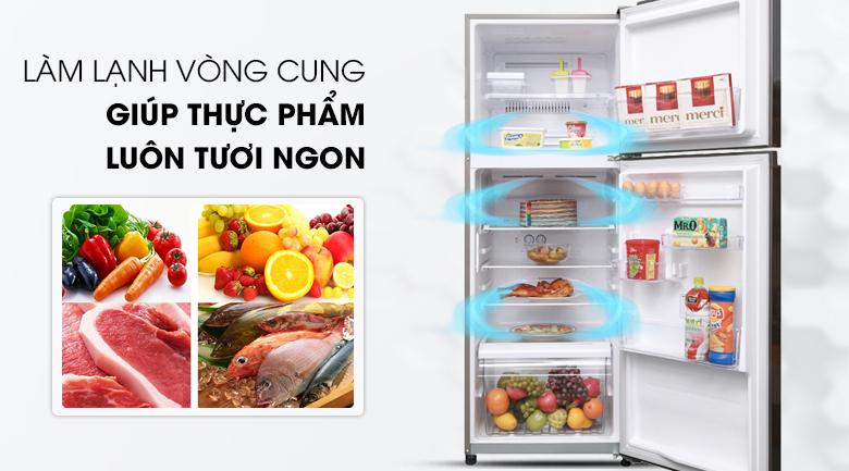 Thực phẩm nhận được đầy đủ hơi lạnh với hệ thống làm lạnh vòng cung - Tủ lạnh Toshiba Inverter 305 lít GR-A36VUBZ DS1