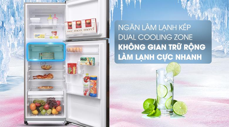 Ngăn làm lạnh kép Dual Cooling Zone hỗ trợ làm lạnh nhanh hơn - Tủ lạnh Toshiba Inverter 305 lít GR-A36VUBZ DS1