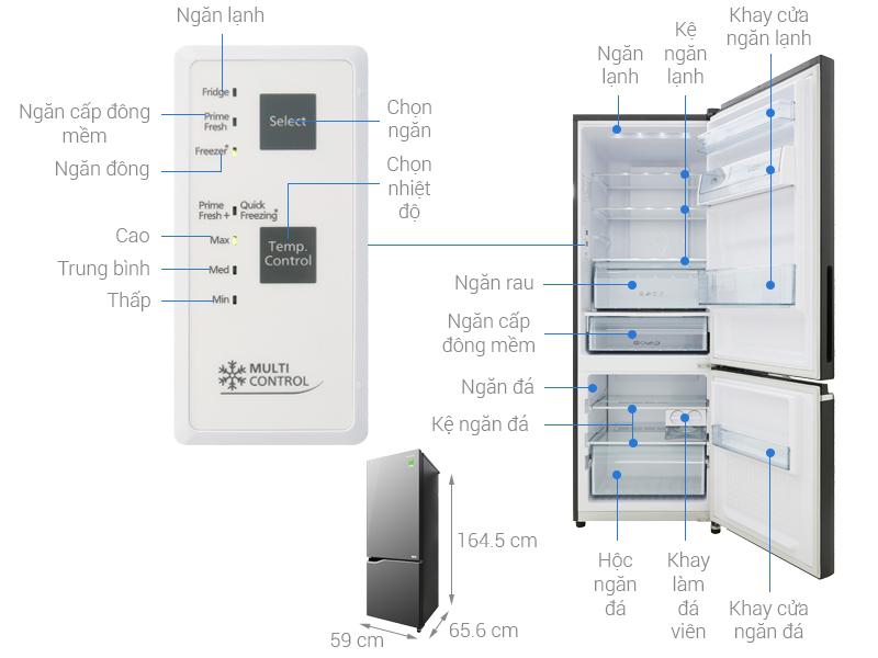 Thông số kỹ thuật Tủ lạnh Panasonic Inverter 290 lít NR-BV328GMV2