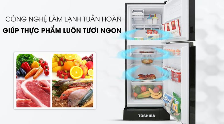 Làm lạnh nhanh hơn với hệ thống làm lạnh tuần hoàn - Tủ lạnh Toshiba Inverter 194 lít GR-A25VM (UKG)