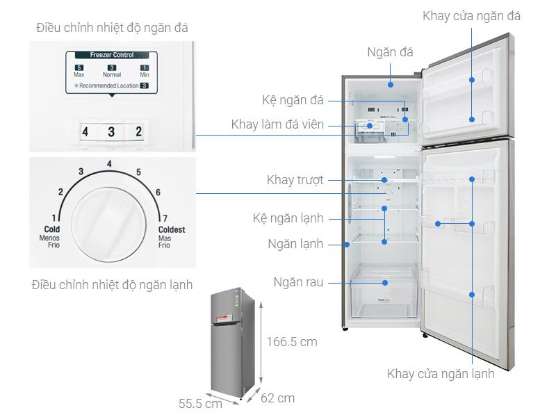 Thông số kỹ thuật Tủ lạnh LG Inverter 255 lít GN-L255S