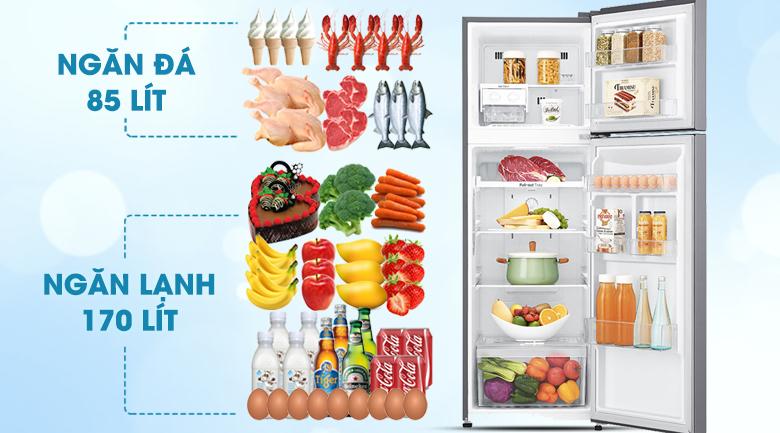Dung tích sử dụng 255 lít - Tủ lạnh LG Inverter 255 lít GN-L255S