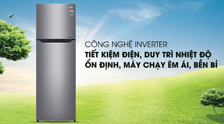 Tiết kiệm điện năng, vận hành êm ái với công nghệ Inverter - Tủ lạnh LG Inverter 255 lít GN-L255S
