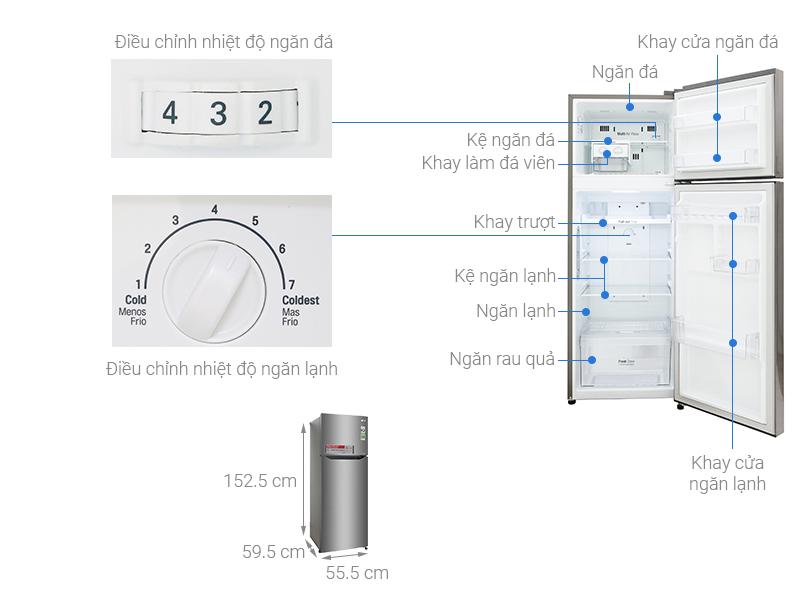 Thông số kỹ thuật Tủ lạnh LG Inverter 208 lít GN-L208S