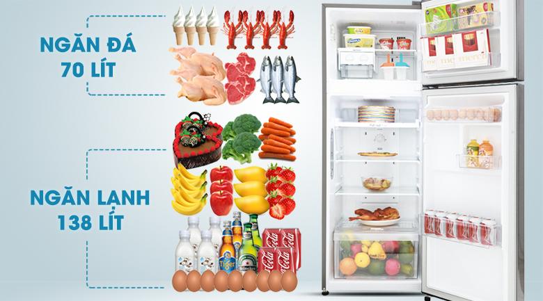 Dung tích sử dụng 208 lít - Tủ lạnh LG Inverter 208 lít GN-L208S