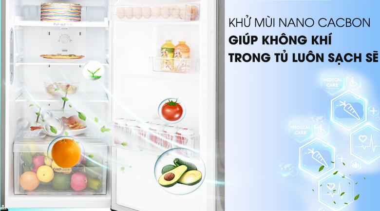 Khử mùi diệt khuẩn tốt với Nano Carbon - Tủ lạnh LG Inverter 208 lít GN-L208S