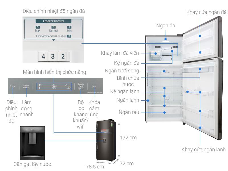 Thông số kỹ thuật Tủ lạnh LG Inverter 478 lít GN-D602BL