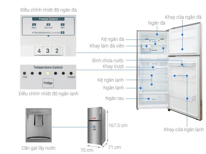 Thông số kỹ thuật Tủ lạnh LG Inverter 393 lít GN-D422PS