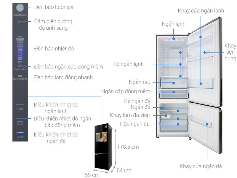 Thông số kỹ thuật Tủ lạnh Panasonic Inverter 322 lít NR-BV368GKV2