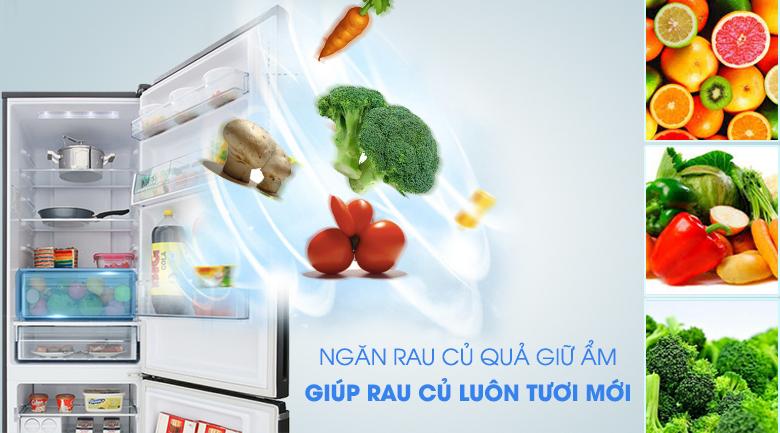 Ngăn rau củ quả giữ tươi và tăng cường độ ẩm - Tủ lạnh Panasonic Inverter 322 lít NR-BV368GKV2