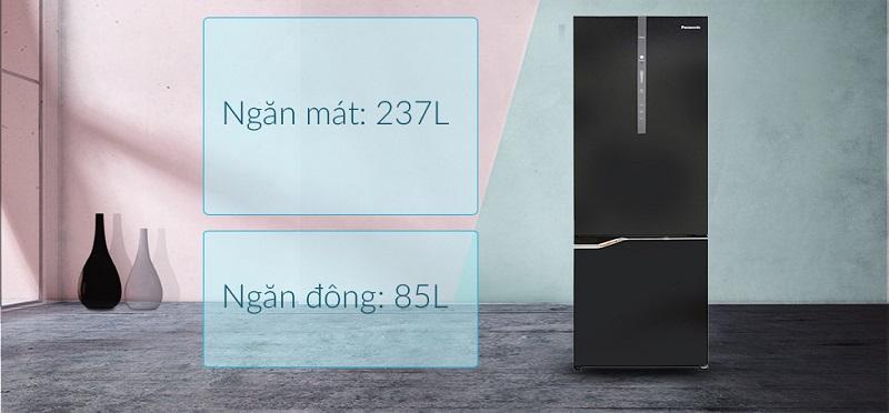 Dung tích lên tới 322 lít - Tủ lạnh Panasonic Inverter 322 lít NR-BV368GKV2