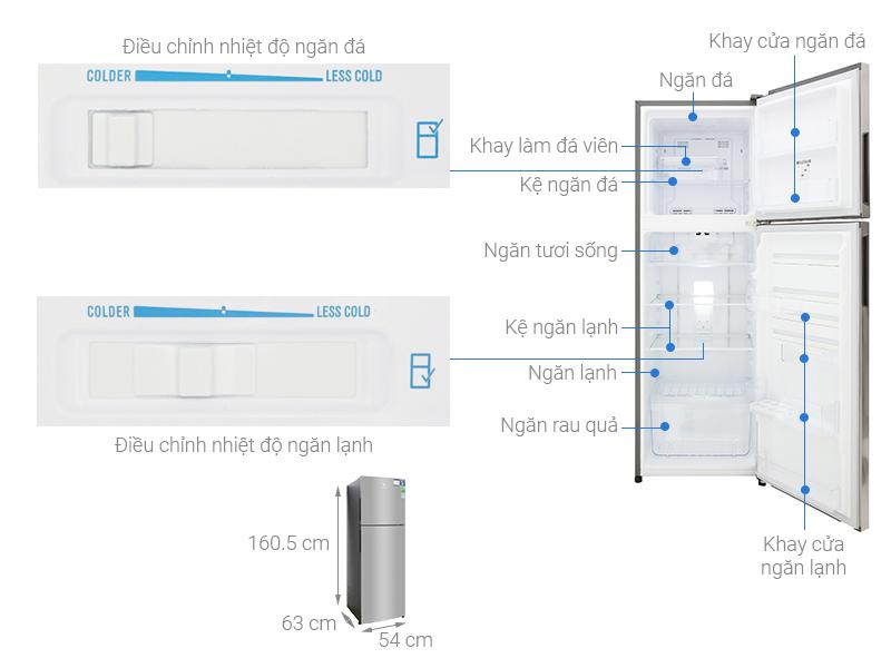 Thông số kỹ thuật Tủ lạnh Electrolux Inverter 255 lít ETB2802H-A