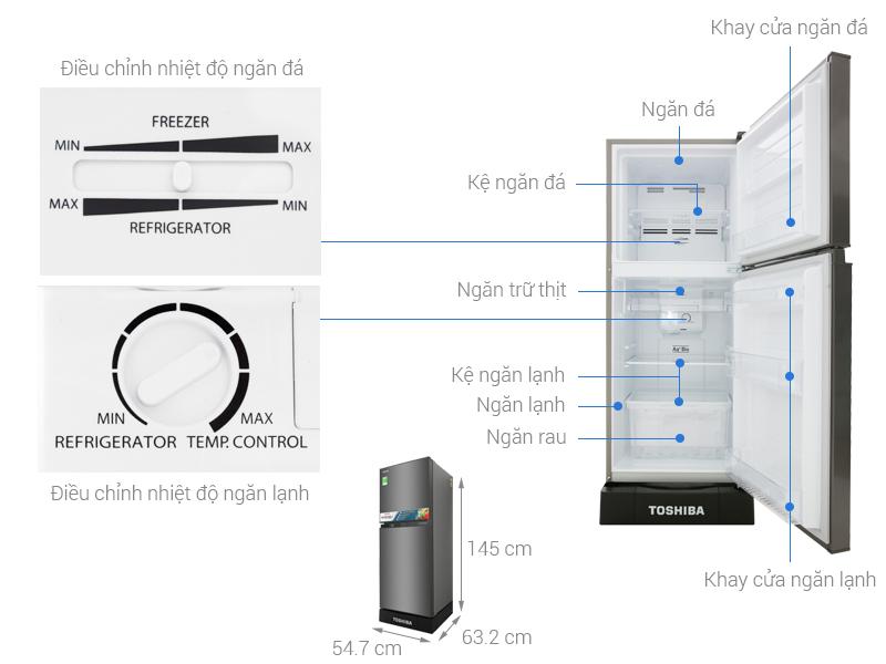 Thông số kỹ thuật Tủ lạnh Toshiba Inverter 194 lít GR-A25VS (DS)