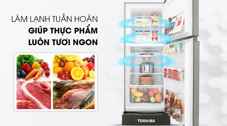 Bảo quản tốt hơn cho thực phẩm với công nghệ làm lạnh tuần hoàn - Tủ lạnh Toshiba Inverter 194 lít GR-A25VS (DS)