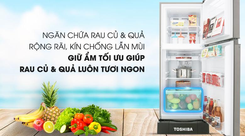 Ngăn chứa rau củ quả tiện lợi - Tủ lạnh Toshiba Inverter 194 lít GR-A25VS (DS)
