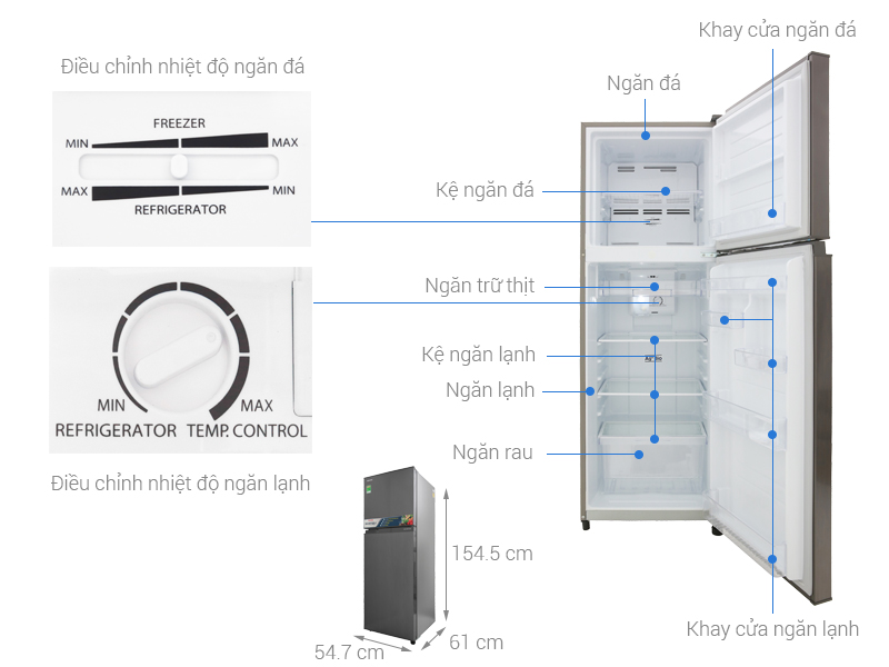 Thông số kỹ thuật Tủ lạnh Toshiba Inverter 233 lít GR-A28VS (DS)