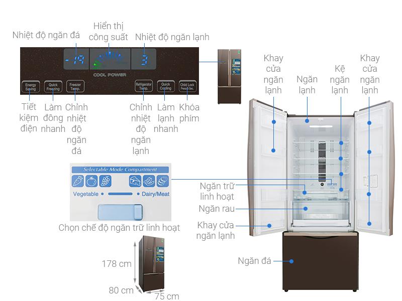 Thông số kỹ thuật Tủ lạnh Hitachi Inverter 429 lít R-WB545PGV2 GBW