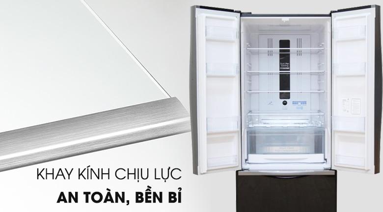 Khay kính chịu lực lớn, chắc chắn - Tủ lạnh Hitachi Inverter 429 lít R-WB545PGV2 GBW