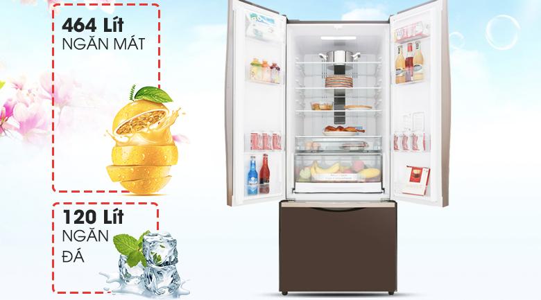 Dung tích đáp ứng tốt nhu cầu sử dụng - Tủ lạnh Hitachi Inverter 429 lít R-WB545PGV2 GBW