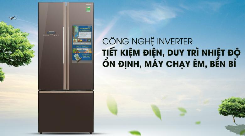 Tủ lạnh Inverter vận hành êm ái, ổn định - Tủ lạnh Hitachi Inverter 429 lít R-WB545PGV2 GBW
