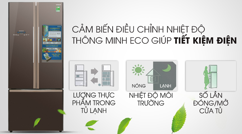 Cảm biến Eco tự động điều chỉnh nhiệt độ - Tủ lạnh Hitachi Inverter 429 lít R-WB545PGV2 GBW