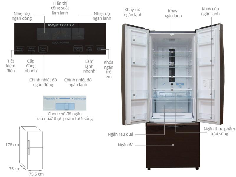 Thông số kỹ thuật Tủ lạnh Hitachi Inverter 382 lít R-WB475PGV2 GBW