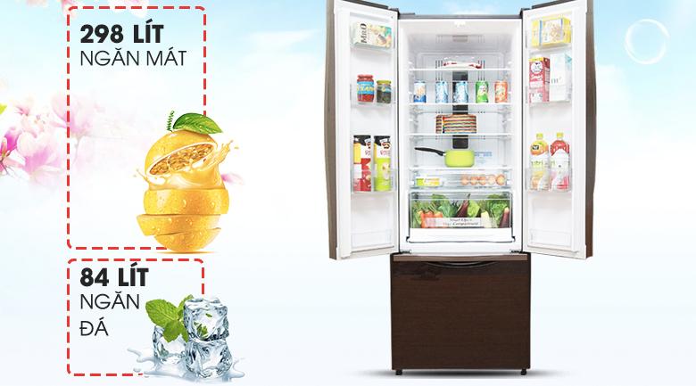 Dung tích đáp ứng tốt nhu cầu sử dụng - Tủ lạnh Hitachi Inverter 382 lít R-WB475PGV2 GBW