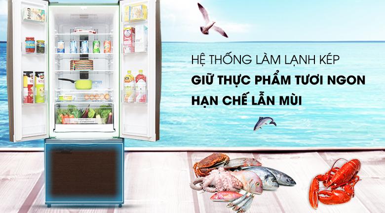 Làm lạnh hiệu quả với hệ thống làm lạnh kép - Tủ lạnh Hitachi Inverter 382 lít R-WB475PGV2 GBW