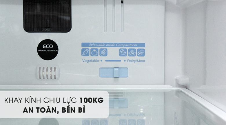 Khay kính chịu lực lớn - Tủ lạnh Hitachi Inverter 382 lít R-WB475PGV2 GBW