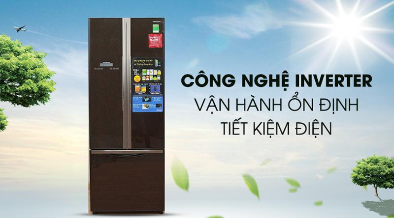 Công nghệ inverter hiện đại, vận hành êm ái, ổn định - Tủ lạnh Hitachi Inverter 382 lít R-WB475PGV2 GBW