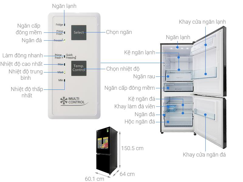 Thông số kỹ thuật Tủ lạnh Panasonic Inverter 255 lít NR-BV289QKV2