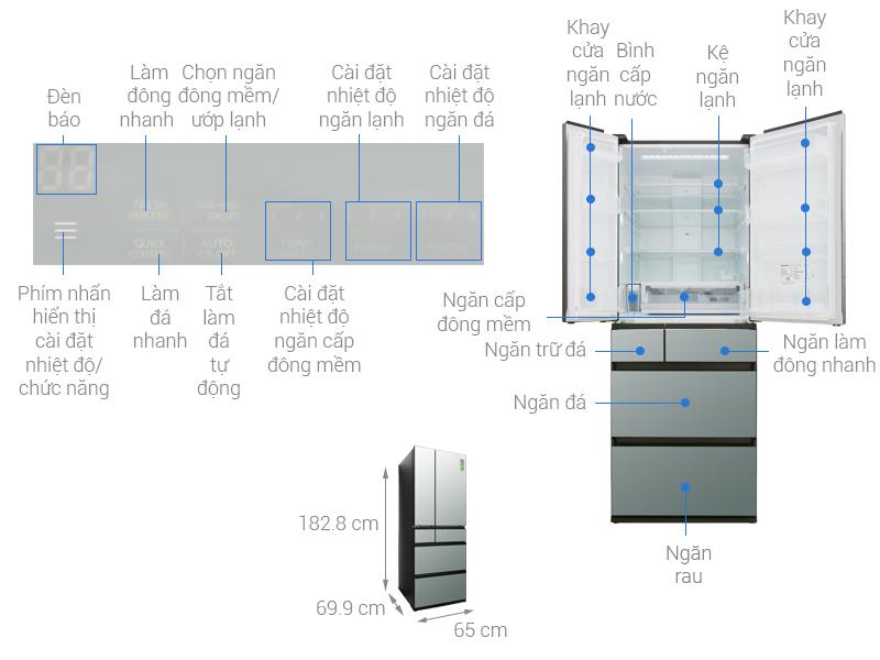 Thông số kỹ thuật Tủ lạnh Panasonic Inverter 491 lít NR-F503GT-X2