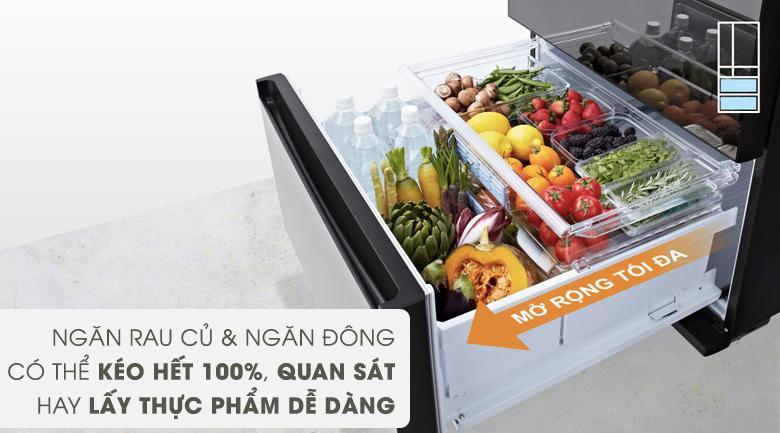 Ngăn tủ thiết kế kéo hết 100% - Tủ lạnh Panasonic Inverter 491 lít NR-F503GT-X2