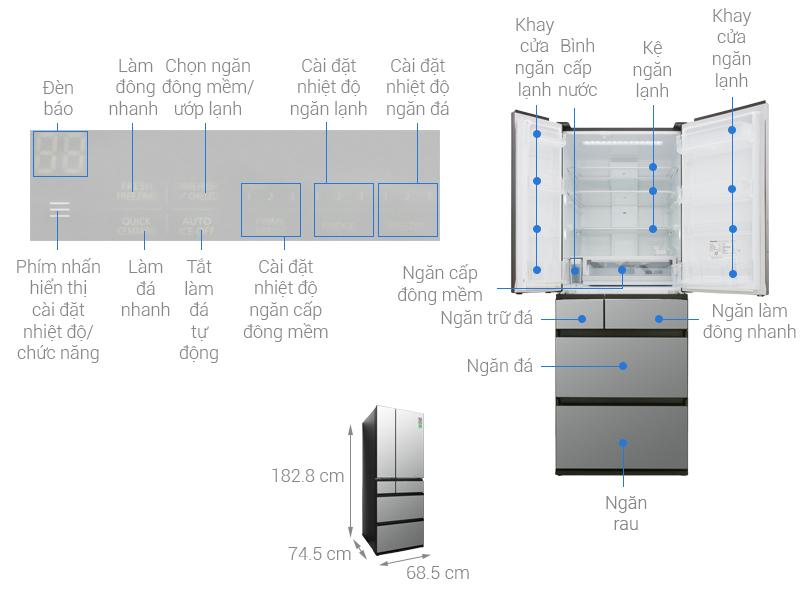 Thông số kỹ thuật Tủ lạnh Panasonic Inverter 589 lít NR-F603GT-X2