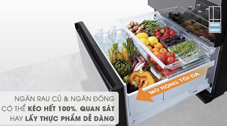 Ngăn rau củ và ngăn đông có thể kéo ra 100% - Tủ lạnh Panasonic Inverter 589 lít NR-F603GT-X2