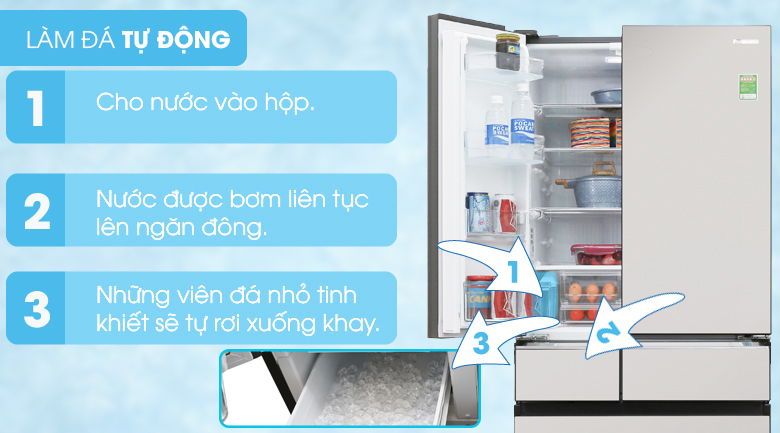 Làm đá tự động - Tủ lạnh Panasonic Inverter 589 lít NR-F603GT-X2